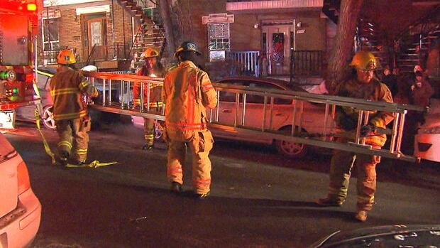 Firefighters evacuated neighbouring residences as they worked to put out the fire.