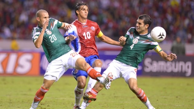 The 2014 World Cup of soccer, which will feature 32 teams (including those from Mexico and Costa Rica, pictured), will take place in Brazil.