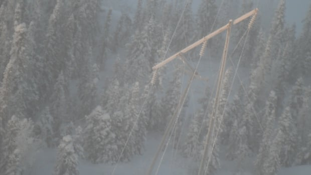 A downed transmission tower, barely visible through ice fog, was the culprit in a three-hour power outage in Yellowknife on Dec. 29. NTPC staff spotted the tower by helicopter Monday morning.