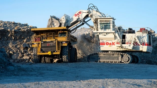 The haul truck pictured here was destroyed by fire Monday night at the Meadowbank gold mine near Baker Lake, Nunavut.