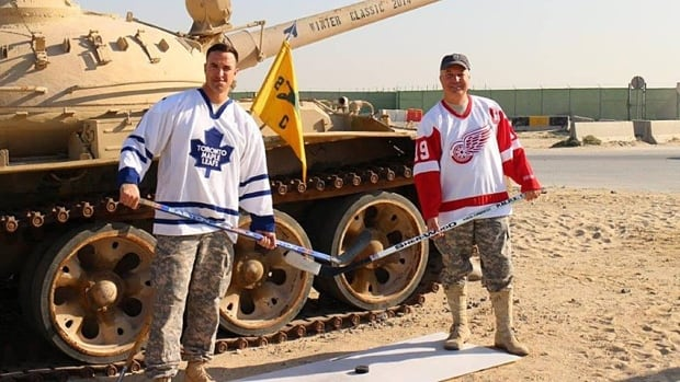Captain Matt Donofrio and First Sergeant Anthony Meyers, stationed in Kuwait, are anxious for the Winter Classic. They plan to stay up late to try to catch some of the game online.