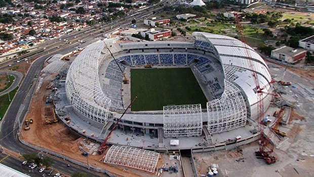 Aerial view of the Arena Das Dunas stadium, in Natal, Brazil, October, 2013.