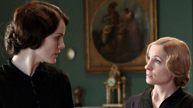 Lady Mary, played by Michelle Dockery, left, has a word with her maid Anna Bates, played by Joanne Froggatt, in a scene from the fourth season of Downton Abbey.