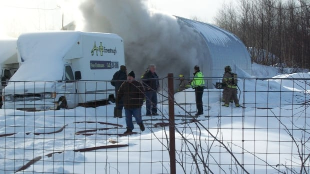 Firefighters and police were at the scene of a fire at A-1 Eavestrough in Grand Falls-Wndsor on Thursday afternoon.