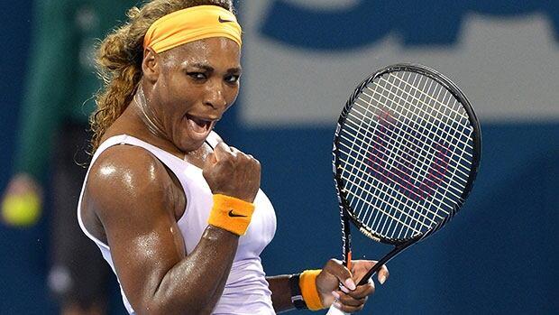 Serena Williams celebrates her win over rival Maria Sharapova in the semifinals of the Brisbane International in Australia.