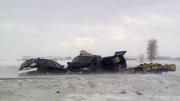 RCMP say four vehicles were involved in a crash on Highway 11 near Lumsden.