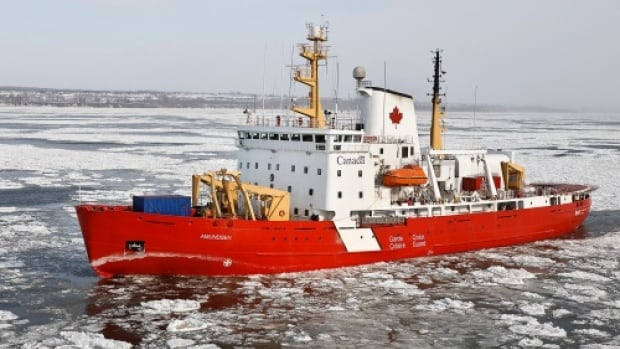 CCGS Amundsen has been working for nearly two days in the St. Lawrence's Lake St-Pierre to break up the ice that is forming there.