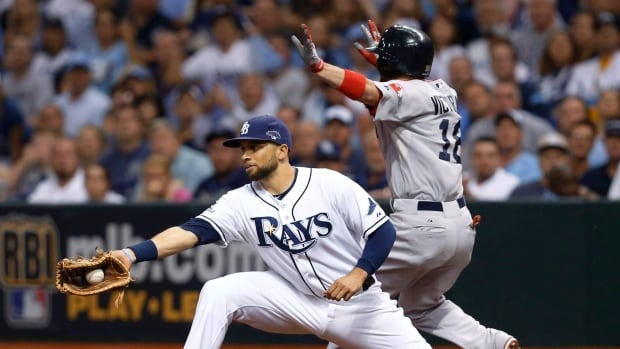 Boston Red Sox's Shane Victorino, right, is safe on first base as Tampa Bay Rays first baseman James Loney, left, catches a throw in Game 4 of the ALDS Oct. 8, 2013.