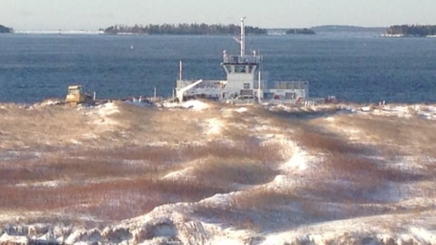 The LaHave River ferry is stranded at Oxners Beach after breaking free from its cable Friday night.