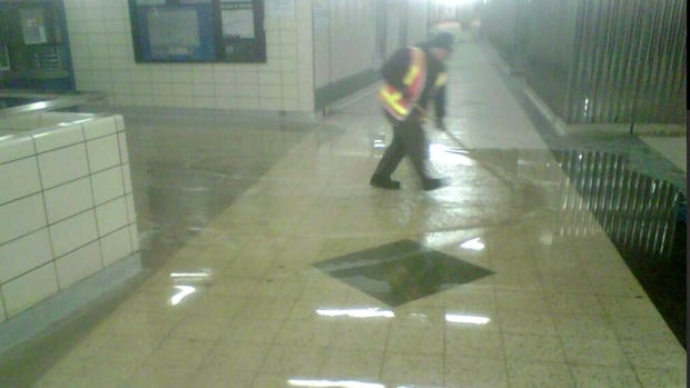 The water main break flooded a platform at the station.