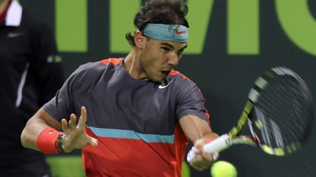 Rafael Nadal, shown here on Friday, outlasted Gael Monfils on Saturday to win the Qatar Open.