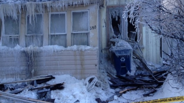 A fire on Pritchard Avenue left an icy aftermath on Monday.
