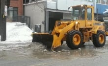 City of Ottawa crews clearing slush puddles freezing rain Monday Jan. 6 2014