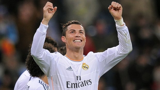 Real Madrid forward Cristiano Ronald celebrates the club's third goal over Celta de Vigo in a 3-0 win.