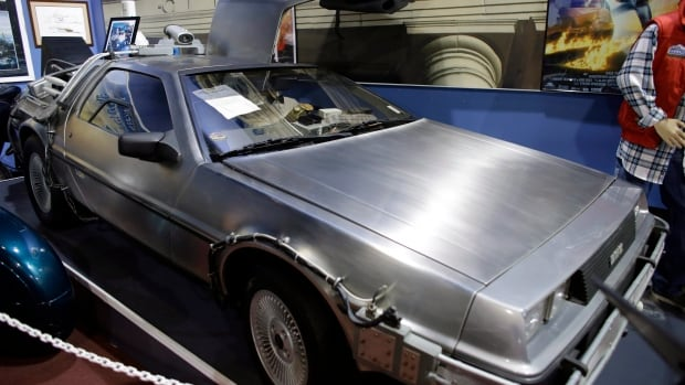 """The 1982 Delorean 'time machine' from the movie """"Back to the Future"""" is displayed at the Dezer Collection Museum in North Miami, Fla. Researchers conducted an extensive internet and social media search for evidence of time travellers going back in history and then bragging about it online. But they came up empty."""