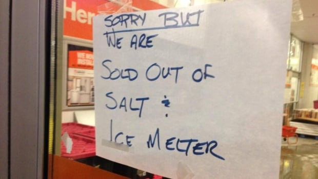 The Home Depot in the Junction was one of many stores that ran out of salt and ice melter on Monday.
