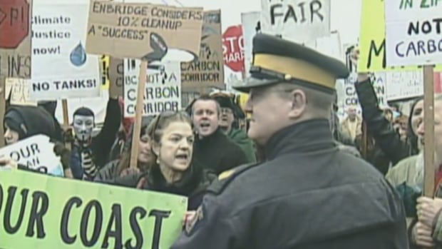 Protesters at Brentwood College School in Mill Bay blocked the Prime Minister's motorcade and delayed his appearance by an hour.