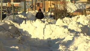 Snow on sidewalk, Westwood Drive