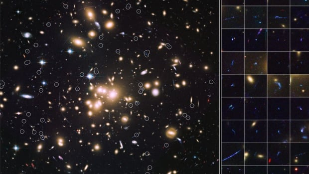 An image taken with the Hubble Space Telescope of Abell 1689, a massive cluster of galaxies whose gravitational pull is so strong that it bends light, acting like a lens. The faint galaxies seen are from 13 billion years ago.