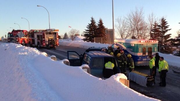 Two people were taken to hospital after a head-on collision on High Street South.