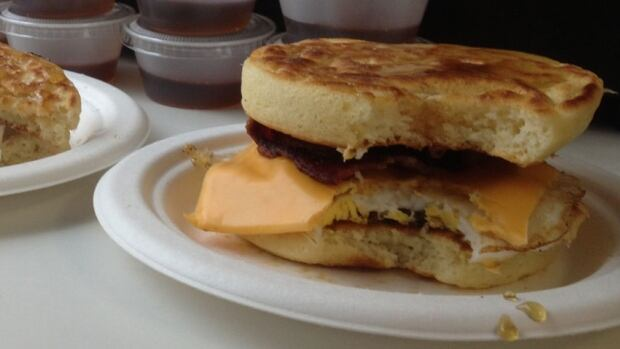 A panwich from Flapjack's Pancake Shack, minus a bite the size of Alan Neal's mouth.