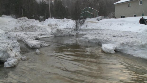 A buildup of snow mixed with heavy rain on Tuesday caused flooding throughout the City of Corner Brook.