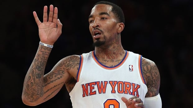 "The NBA on Wednesday fined Knicks guard J.R. Smith $50,000 US for ""recurring instances of unsportsmanlike conduct"" after he tried to untie Mavericks forward Shawn Marion's sneaker for a second time in two games."
