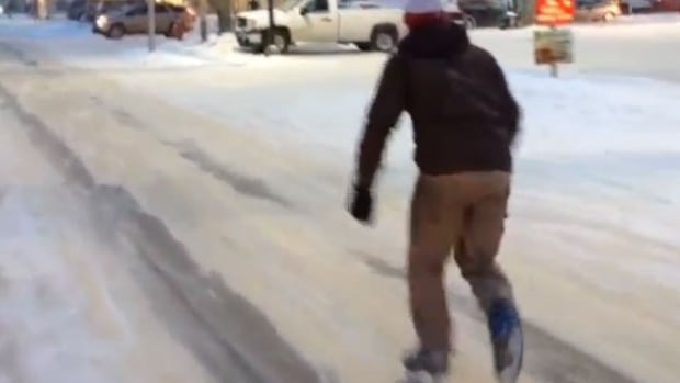 Mark Dombowsky enjoys a quick skate down Main Street in Moose Jaw, perhaps to pick up a cup of coffee?