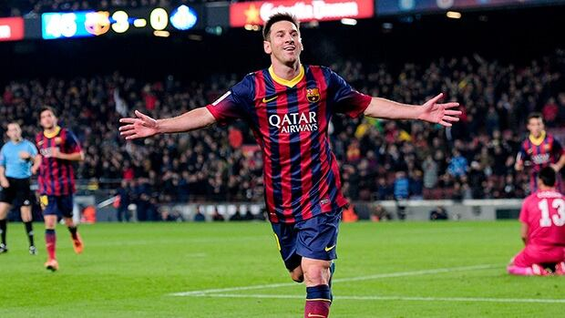 Barcelona's Lionel Messi celebrates a goal against Getafe at the Camp Nou stadium in Barcelona on January 8, 2014.