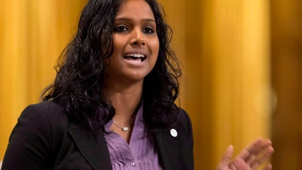 NDP MP Rathika Sitsabaiesan rises during Question Period in the House of Commons in Ottawa on October 19, 2012.  Sri Lanka's official representatives in Canada are accusing Sitsabaiesan of attempting to embarrass the Asian country's government by claiming she faced political intimidation during a visit there.