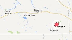 Map showing Forget, Sask.