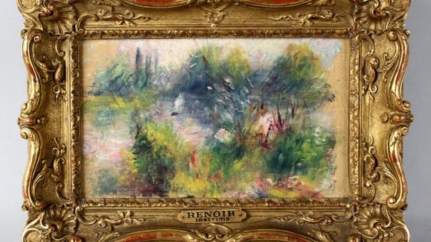 This image shows an apparently original painting by French impressionist Pierre-Auguste Renoir that a woman from Virginia says she bought at a flea market.