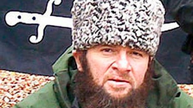 A 2009 screen shot shows a man identified as Doku Umarov, the leader of the umbrella militant group Caucasus Emirate.