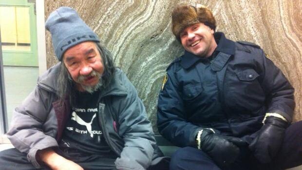 Alvin Cote and Cst. Derek Chesney share a laugh.