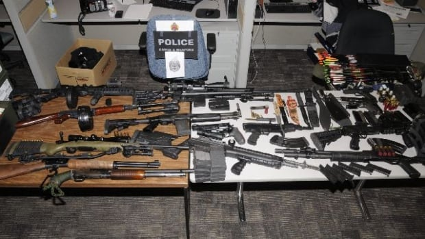 This gun collection was taken from the home of a Canadian Forces soldier in Ancaster in January.