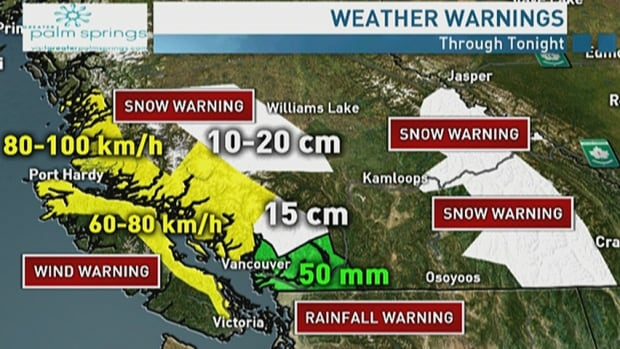 Snow, wind and rainfall warnings throughout southern B.C.