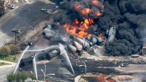 Smoke rises from railway cars that were carrying crude oil after derailing in downtown Lac-Mégantic, Que., on July 6, 2013.  The completion of the sale of the assets of MM&A adds to a settlement fund with hundreds of millions of dollars, says bankruptcy attorney Robert Keach.