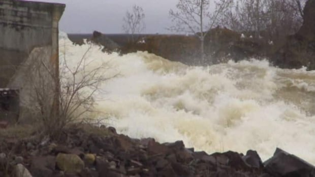 Ice buildup on the Exploits River, seen here in 2013, has caused some problems for power generation at the dam.