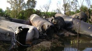 Punctured rail tanker cars