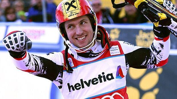 Austria's Marcel Hirscher celebrates in the finish area after winning an alpine ski World Cup men's slalom in Adelboden, Switzerland., on Sunday.