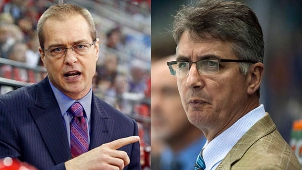 The Winnipeg Jets have fired head coach Claude Noel (right) and replaced him with former Hurricanes coach Paul Maurice (left).