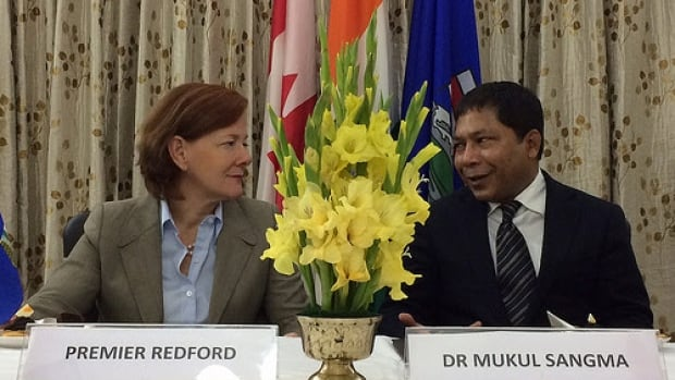 Premier Alison Redford meets with Meghalaya's Chief Minister Dr. Mukul Sangma to sign a memorandum of agreement.