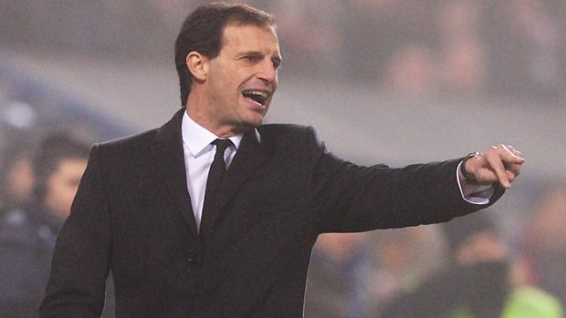 AC Milan manager Massimiliano Allegri barks instructions in a 4-3 loss at Sassuolo Calcio on Sunday.