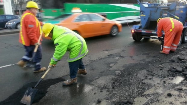 About 45 crews took advantage of mild temperatures to fill potholes across the city on Monday.
