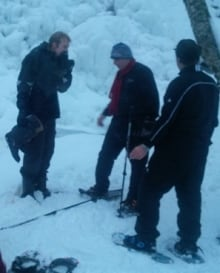Snowshoer saved after falling through ice