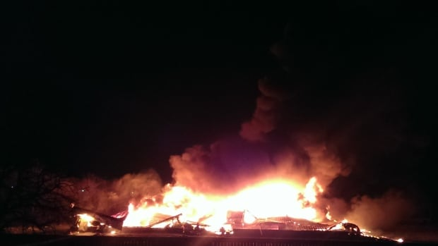 A massive fire engulfed a shed holding livestock trucks over the weekend. In total, 39 trucks were destroyed. No one was injured in the blaze.