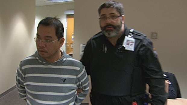 Russel Olvena Torralba appears at a detention hearing Monday in Vancouver after being arrested by the Canada Border Services Agency on a tip from U.S. Marshals.