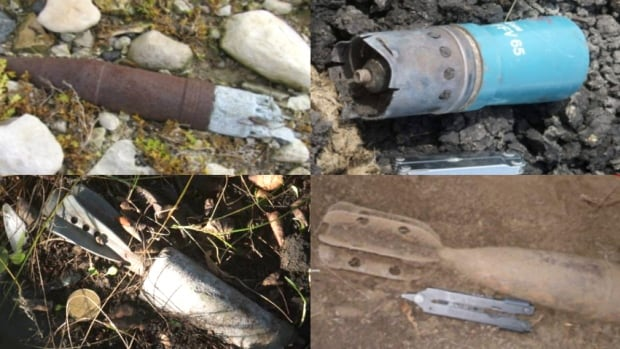 Weaselhead Flats was closed after the June flood unearthed unexploded bombs, including those pictured above, in the area.