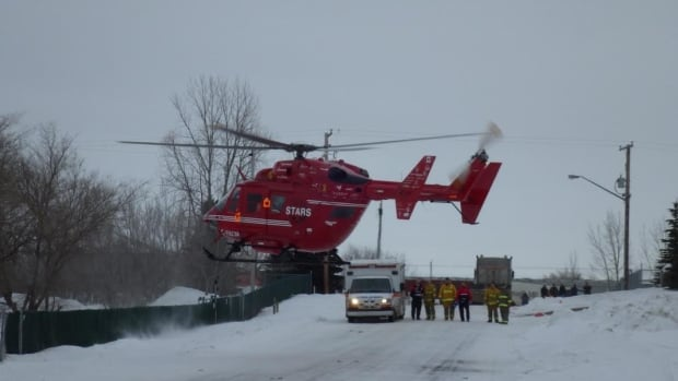 STARS helicopter takes injured man to hospital skpic
