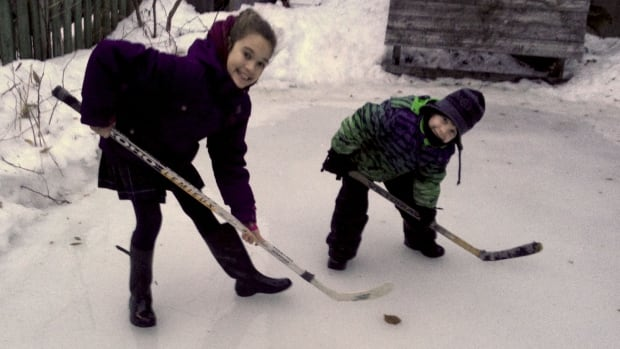 Ella and Adam Groszman were forced to hang up their skates after several days worth of rain coated their backyard skating rink in the Mile End.